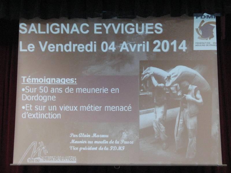 Panneau d'information de Salignac Eyvigues.